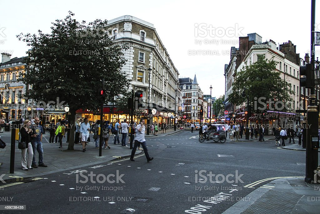 Junction at Leicester Square, London stock photo