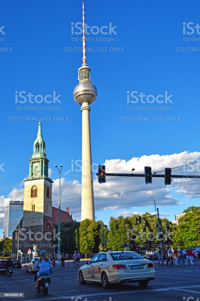 Junction In Downtown Berlin In The Evening Sun With View To The Tv