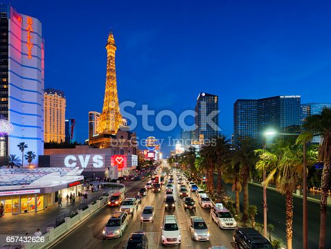 June 01, 2016 Las Vegas strip at dusk in Nevada, Las Vegas, USA