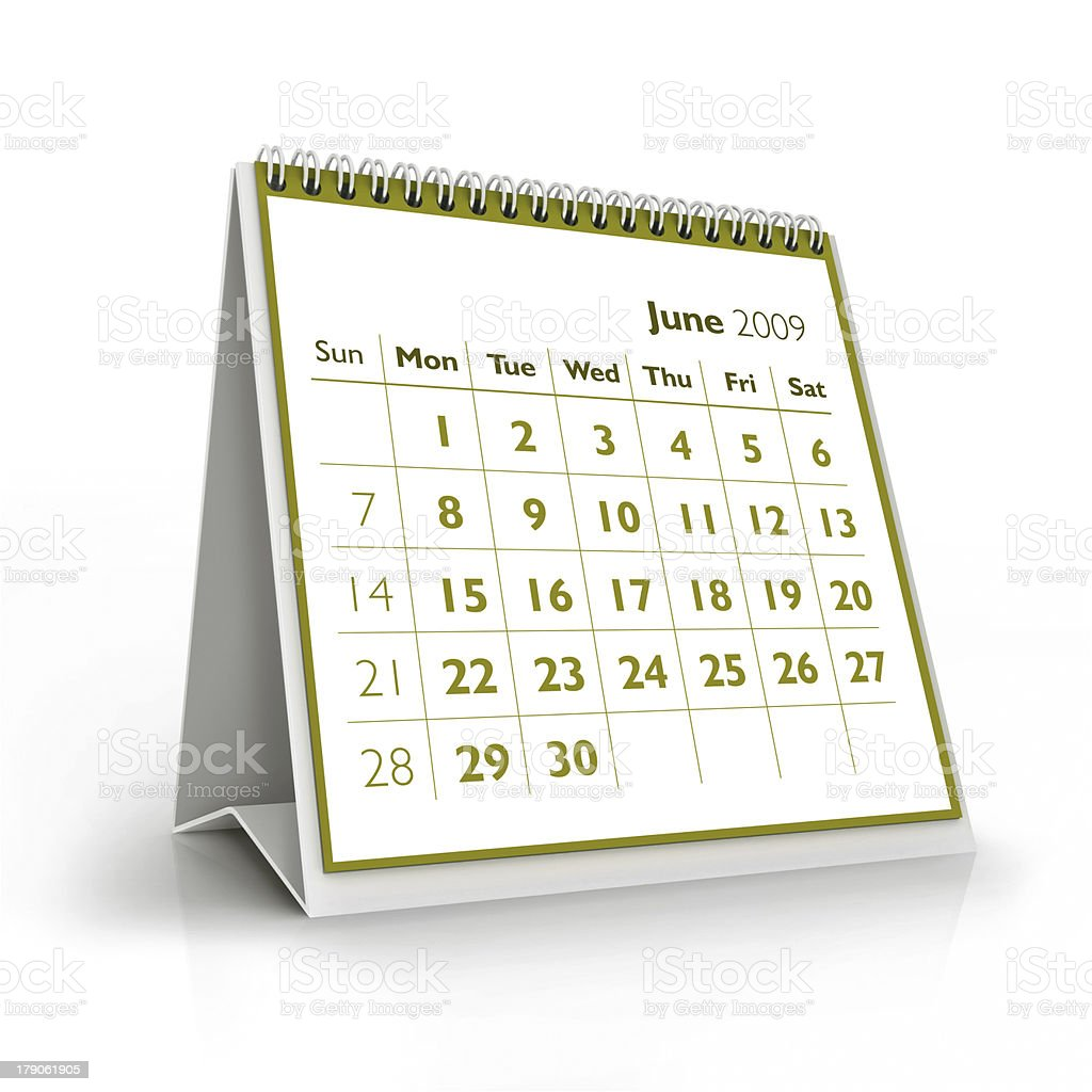 June. 2009 3D calendar stock photo