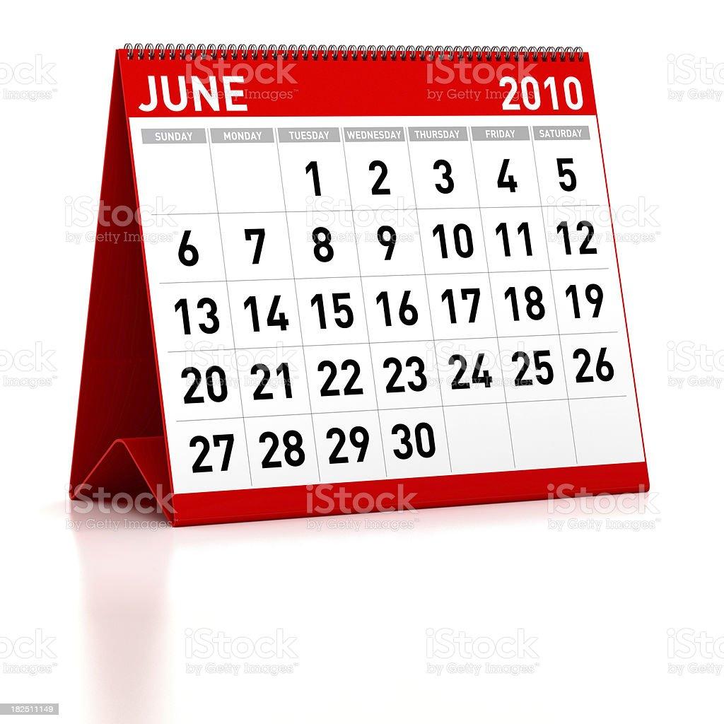 June 2010 - Calendar royalty-free stock photo