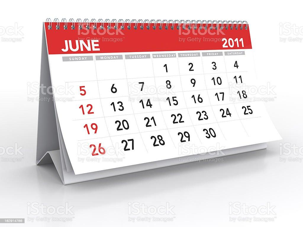 June 2011 - Calendar royalty-free stock photo