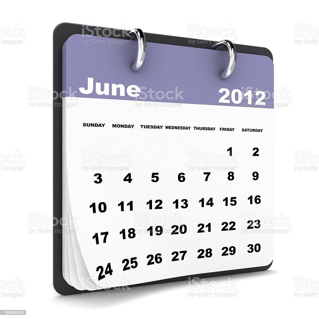 June 2012 Calendar royalty-free stock photo