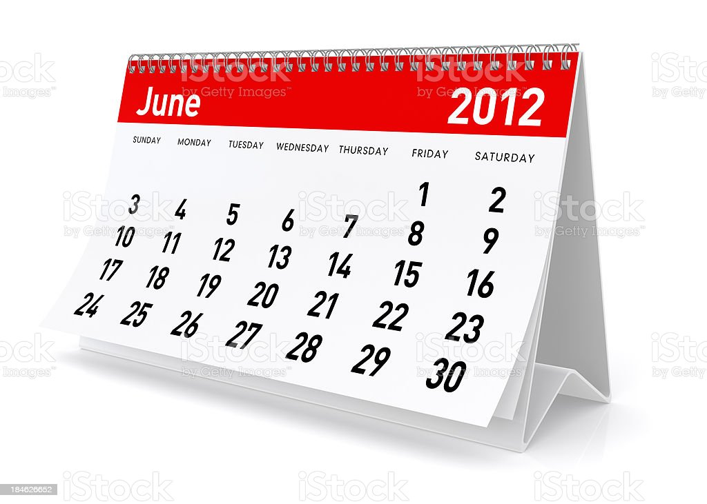 June 2012 - Calendar royalty-free stock photo