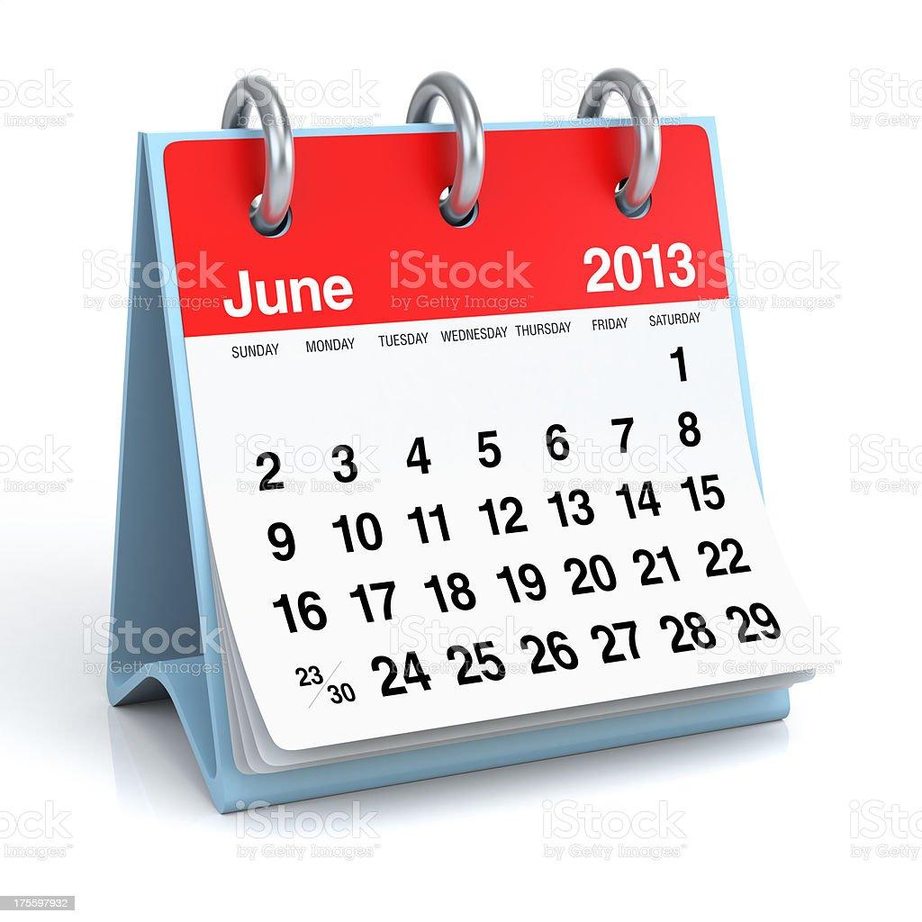 June 2013 - Calendar royalty-free stock photo