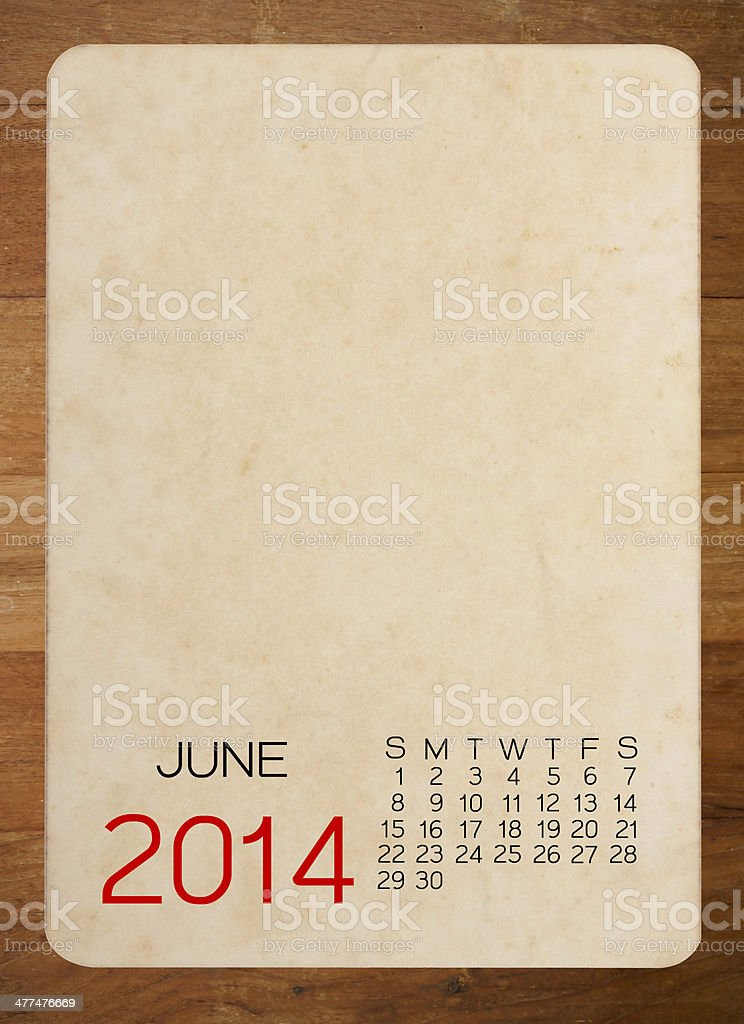 June 2014 calendar on the Empty old photo royalty-free stock photo