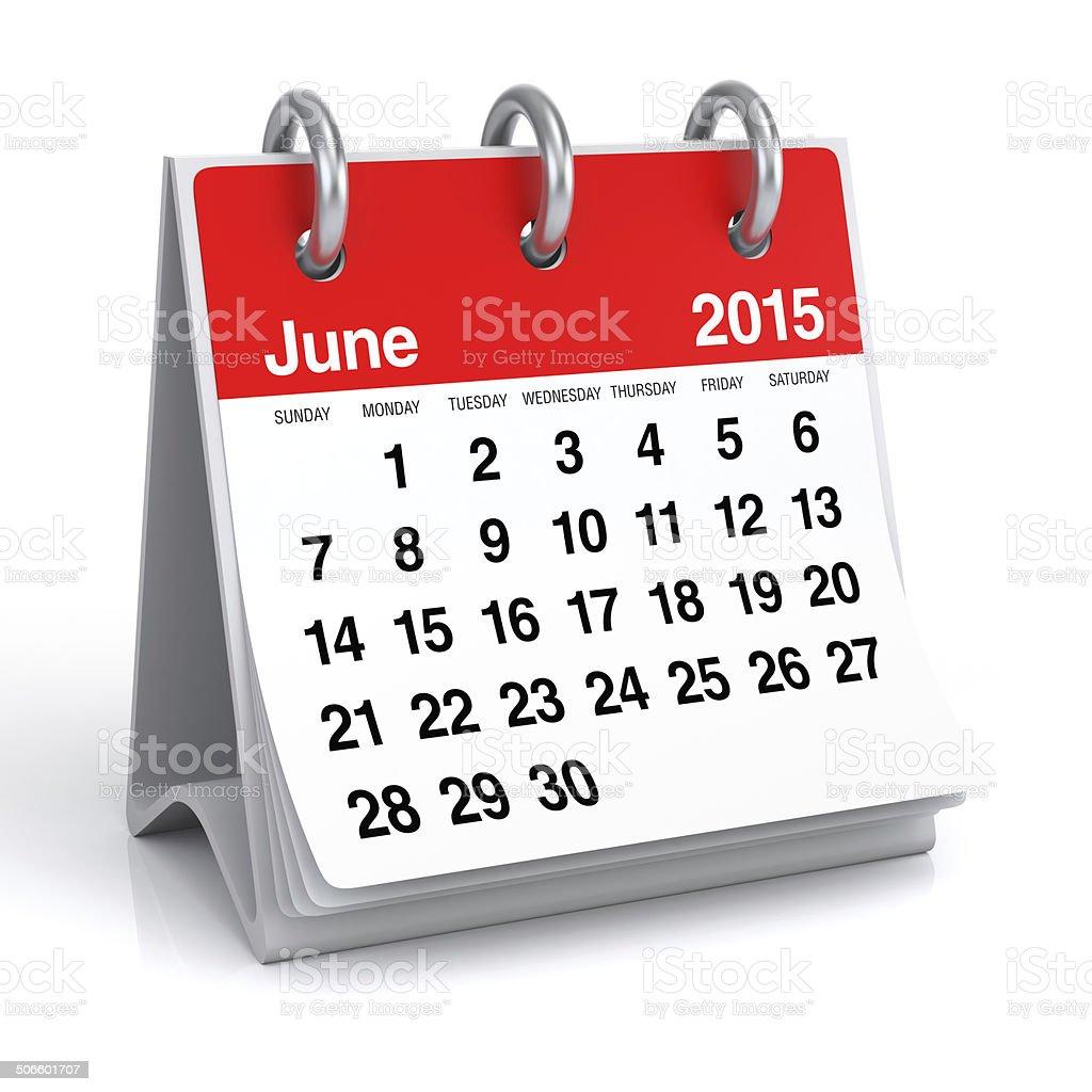June 2015 - Calendar stock photo