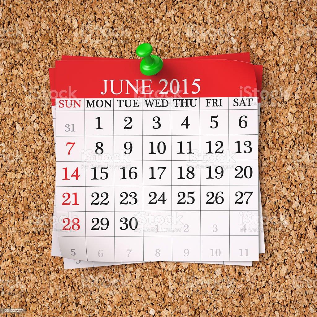 June 2015  Calendar stock photo