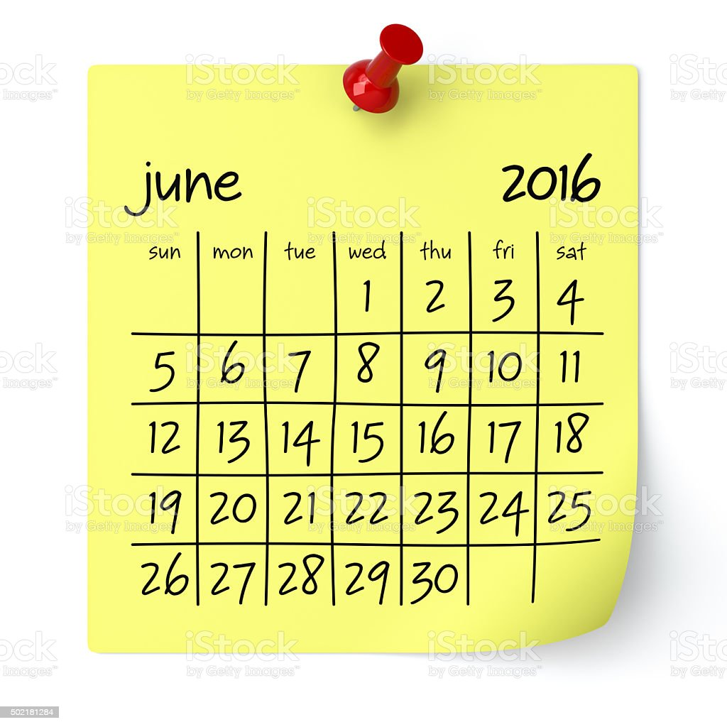 June 2016 - Calendar stock photo