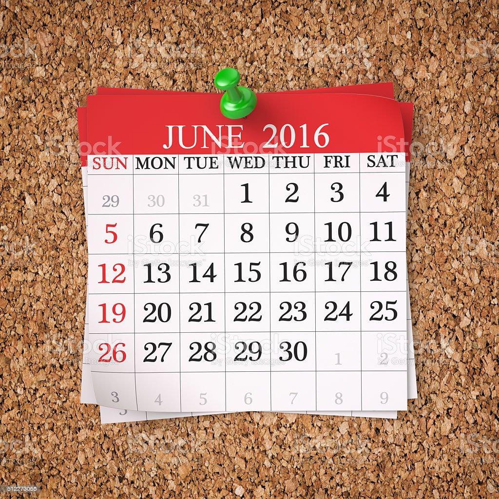 June 2016  Calendar stock photo