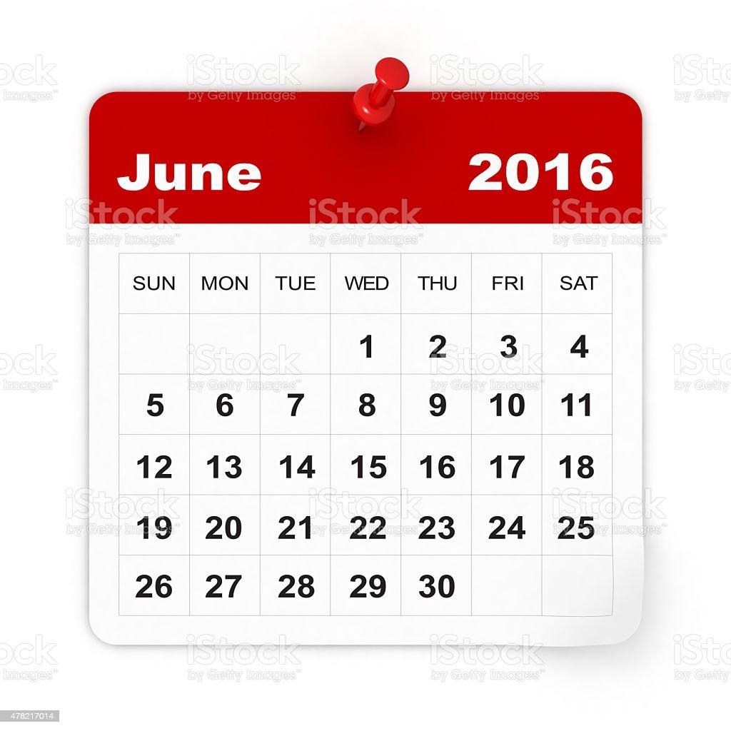 June 2016 - Calendar series stock photo