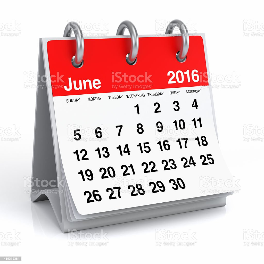 June 2016 - Desktop Spiral Calendar stock photo