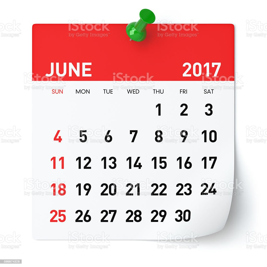 June 2017 - Calendar stock photo
