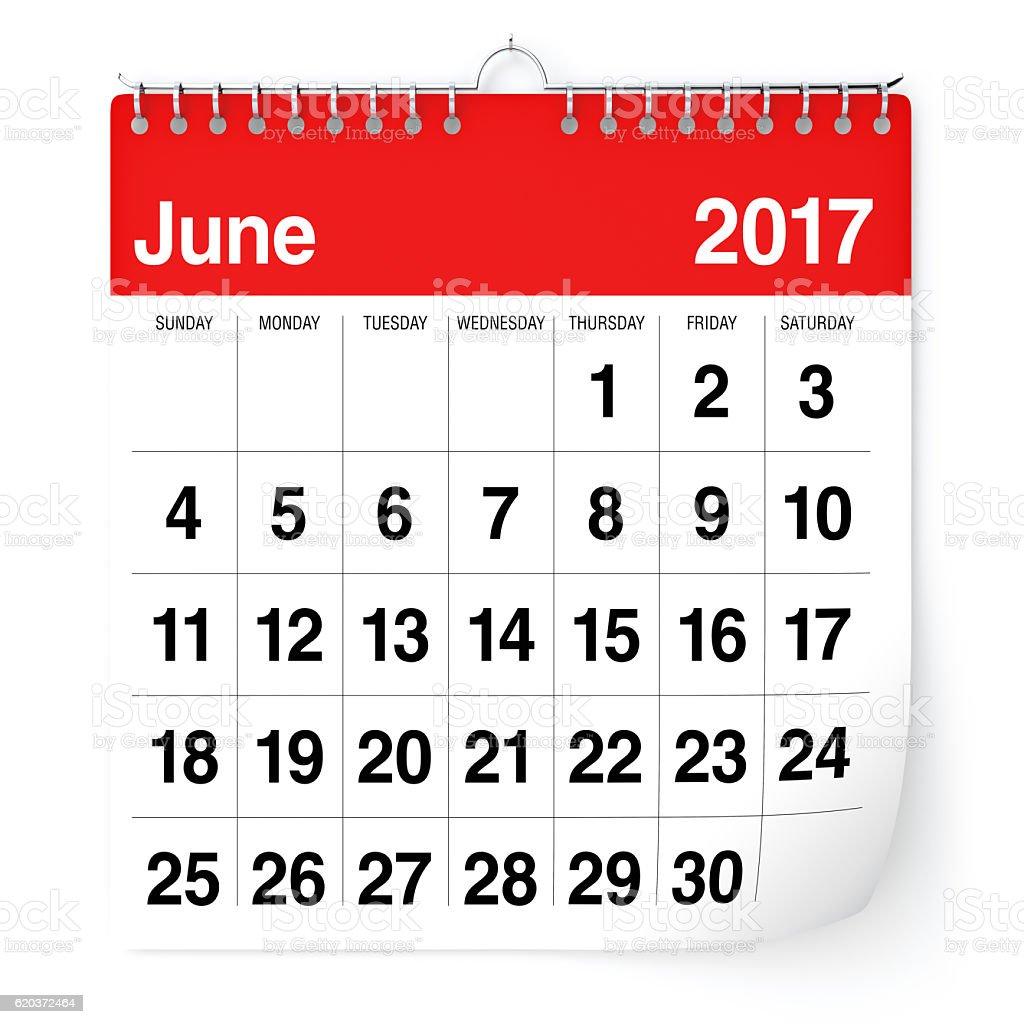 Junho de 2017 - calendário foto de stock royalty-free