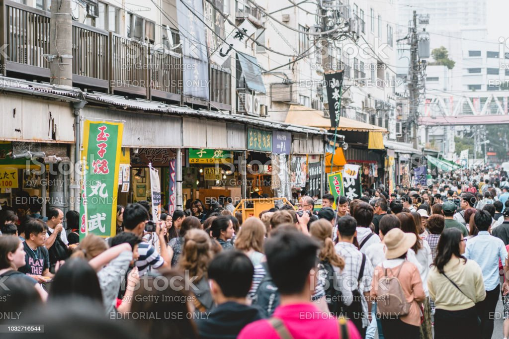 TOKYO,JAPAN - 23 June 2018 :An outer market of Tsukiji whose retail shops and restaurants carter to the public. stock photo