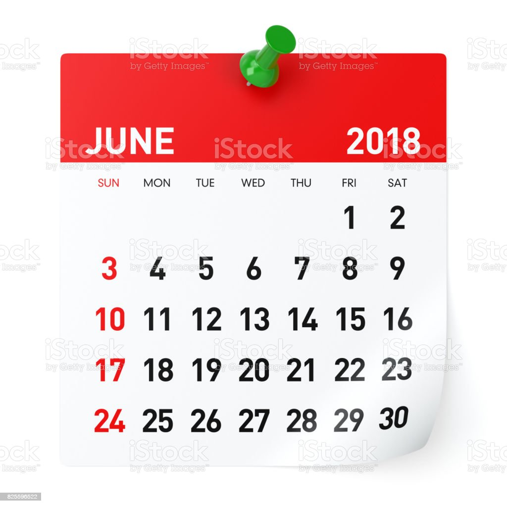 June 2018 - Calendar stock photo