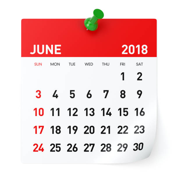 june 2018 - calendar - june stock photos and pictures