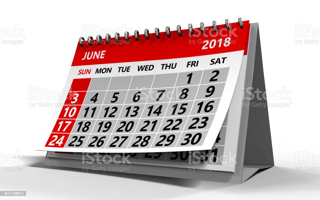 june 2018 calendar stock photo