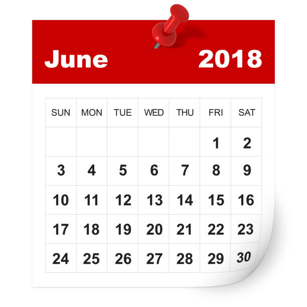 june 2018 calendar - june stock photos and pictures