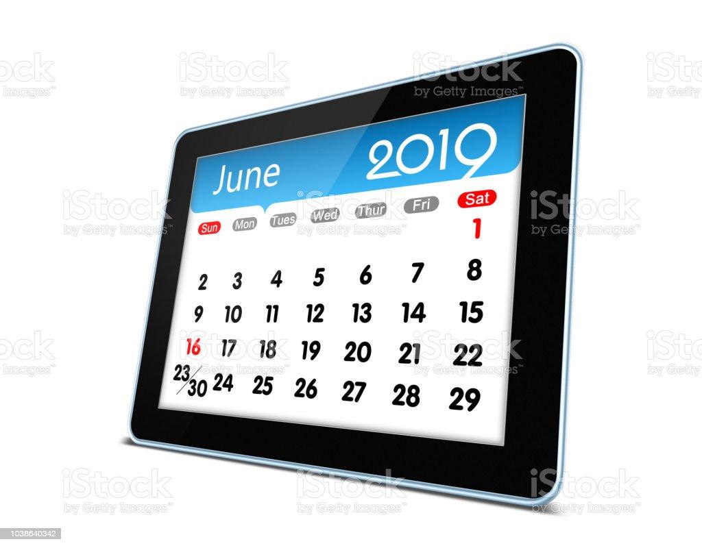 June 2019 Calendar On Digital Tablet Isolated Stock Photo