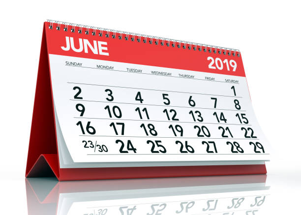 june 2019 calendar - june stock photos and pictures