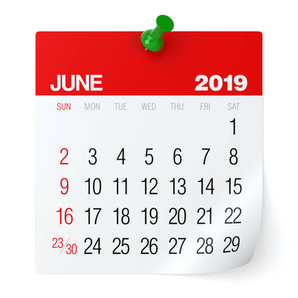 june 2019 - calendar. - june stock photos and pictures