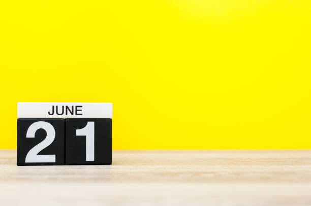 june 21st. day 21 of month, calendar on yellow background. summer day. empty space for text. go skateboarding day - number 21 stock photos and pictures