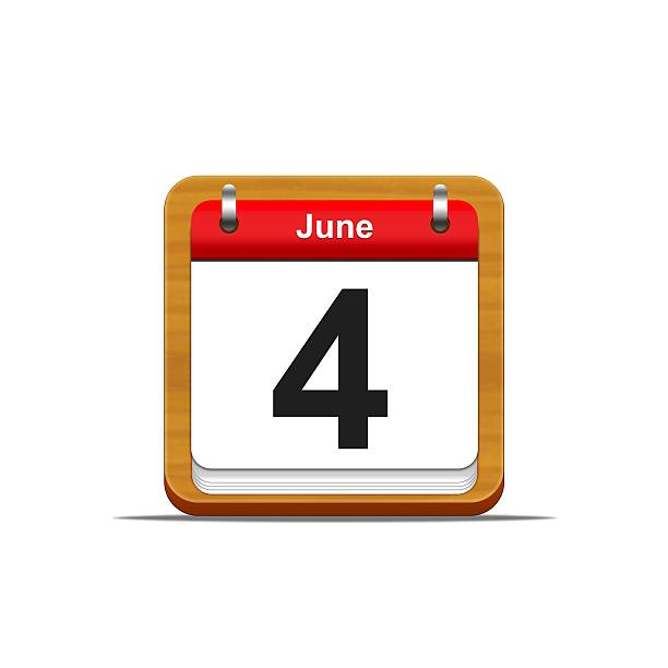 June 4. Illustration elegant wooden calendar on white background. day 4 stock pictures, royalty-free photos & images