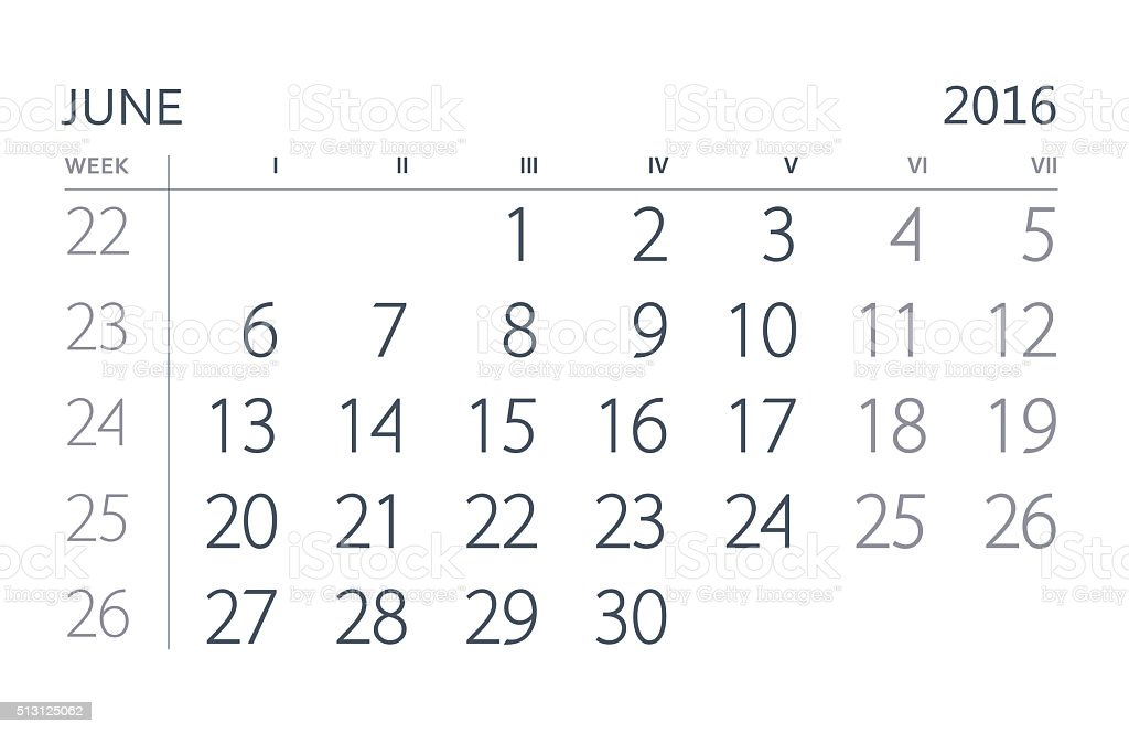 June. Calendar of the year two thousand sixteen. stock photo