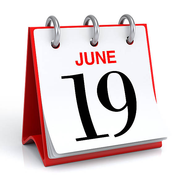 june calendar - number 19 stock photos and pictures