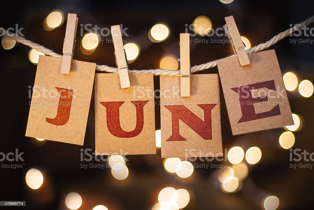 June Concept Clipped Cards and Lights stock photo