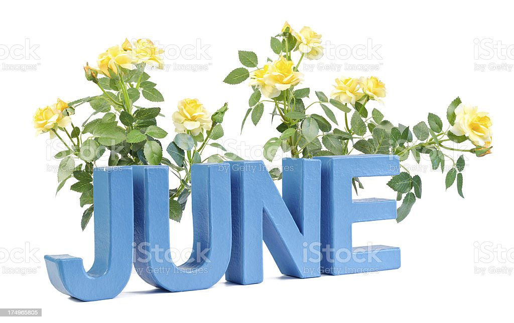 June in blue letters royalty-free stock photo