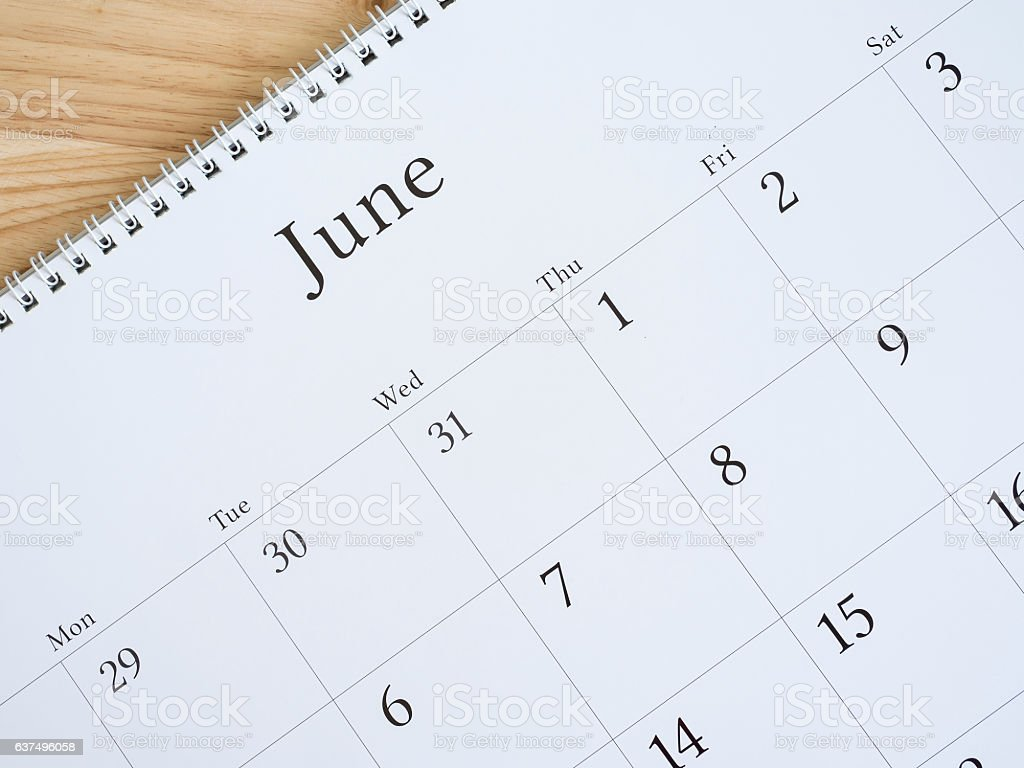 June on white calendar page 2 stock photo