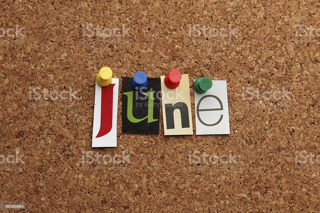 June pinned on noticeboard royalty-free stock photo