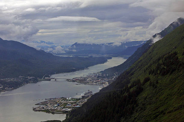 juneau, alaska, from the air - alaska us state stock photos and pictures