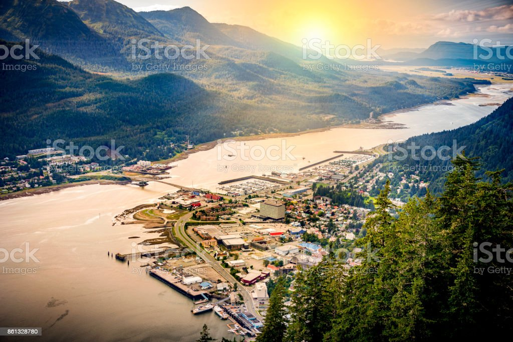 Juneau, Alaska with landscape view of mountains and the city stock photo