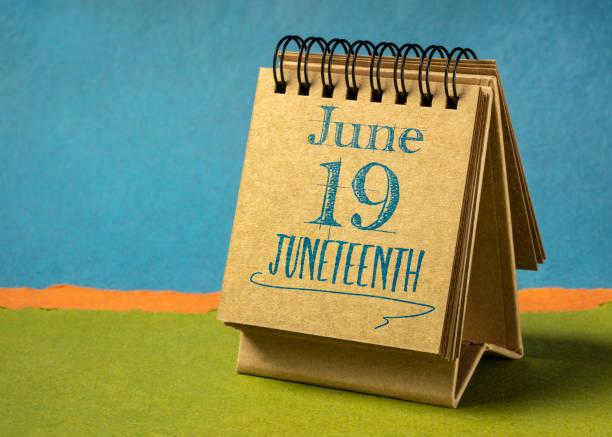 Juneteenth (June 19) in a desktop calendar stock photo
