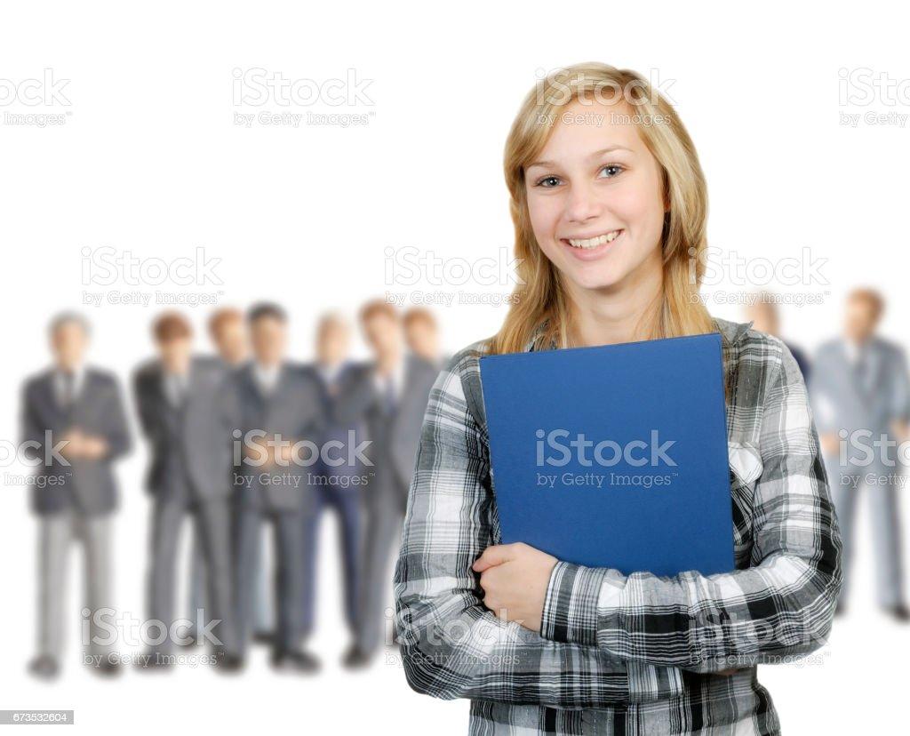 Junge Frau und Geschäftsmänner – Foto