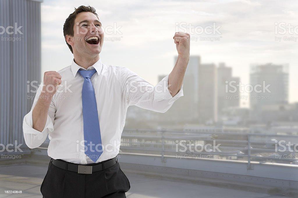 Junger Businessmann in Siegerpose stock photo