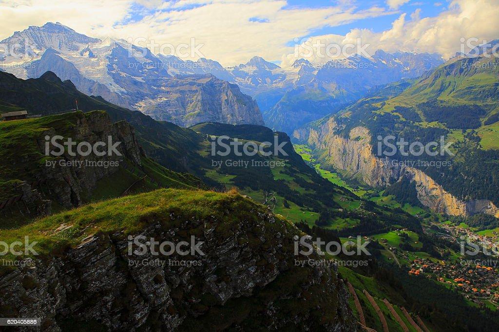 Jungfrau above Lauterbrunnen, Wengen, idyllic valley, Bernese Oberland,Swiss Alps stock photo