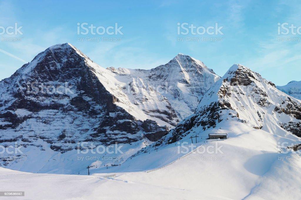 Jungfrau Eiger Monch Bergspitzen im Winter Schweizer Alpen – Foto