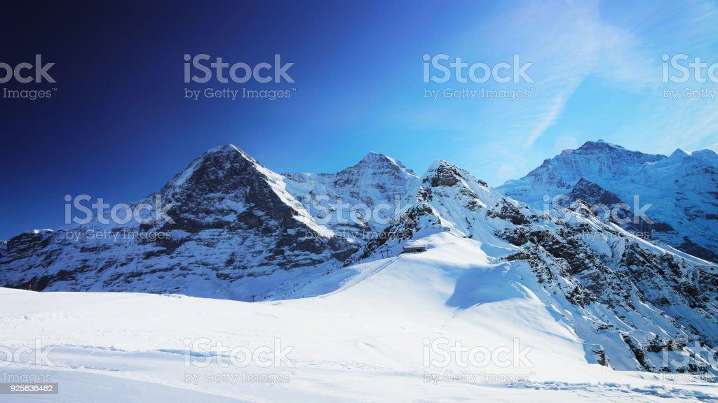 Jungfrau Eiger Monch Berggipfel winter Schweizer Alpen – Foto