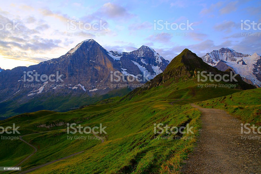 Jungfrau, Mönch and Eiger, Lauterbrunnen and Grindelwald Swiss Alps from Mannlichen stock photo