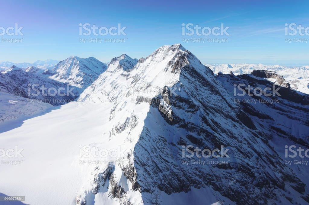 Jungfrau-Gipfel im Winter Schweizer Alpen – Foto