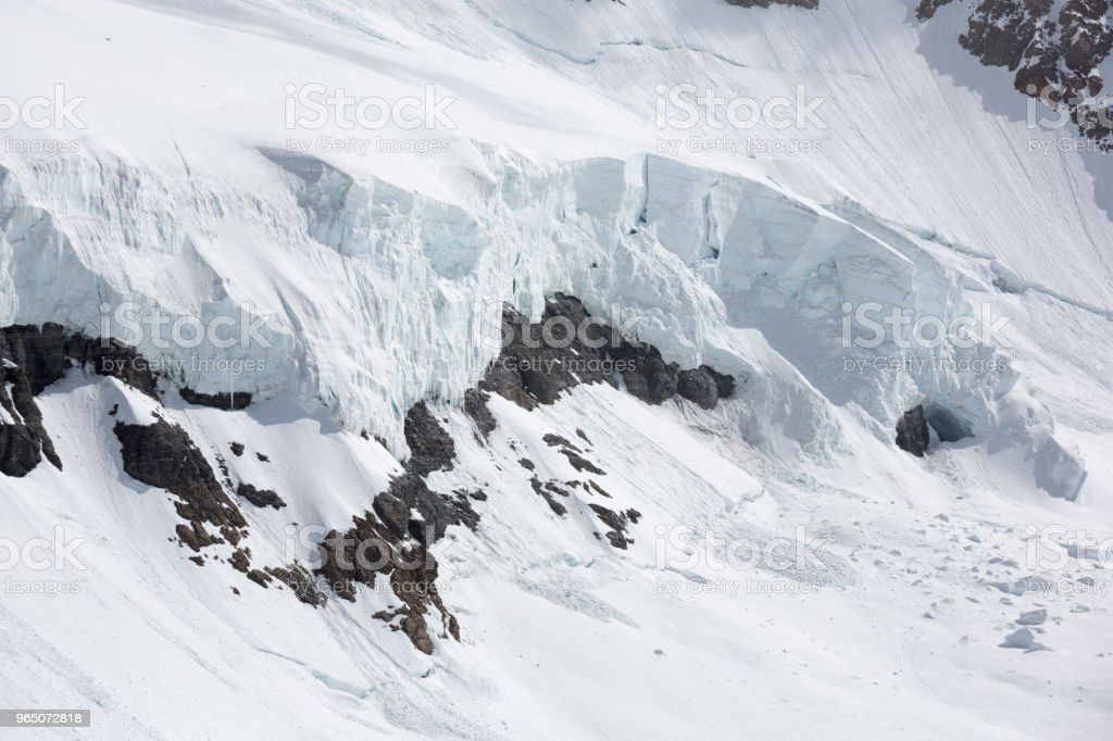Jungfraujoch Swiss Alps Avalanche Danger, Switzerland royalty-free stock photo