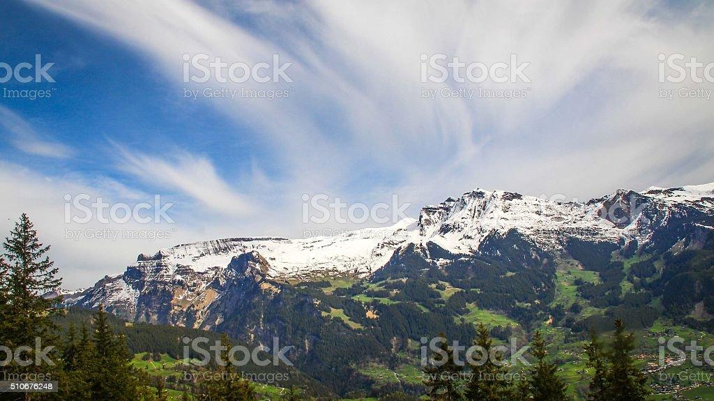 Jungfraujoch with beautiful cloud sky stock photo