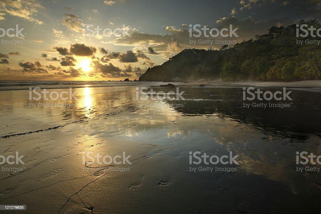 Jungle Beach Sunset, Costa Rica stock photo