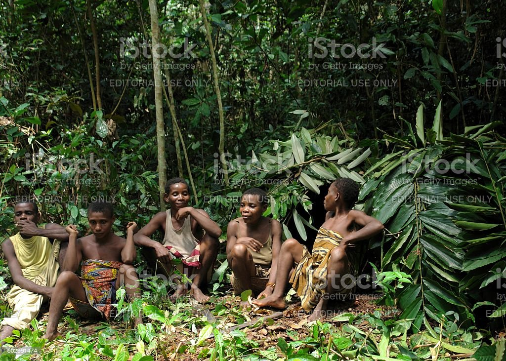 Jungle Group Portrait Of A Women From Baka Tribe Pygmies Royalty Free