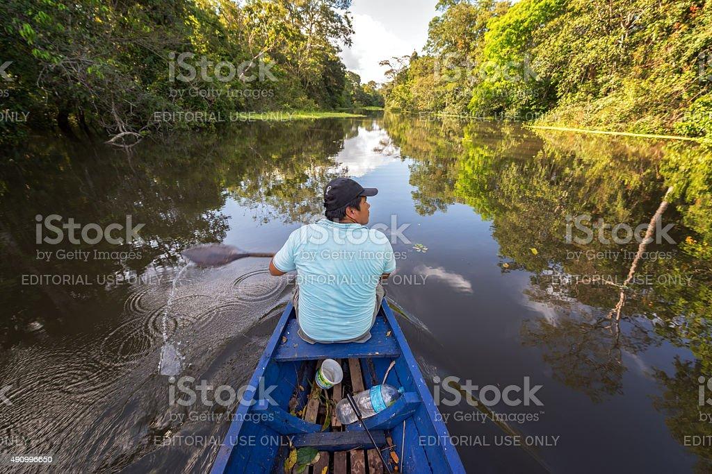Jungle Guide on River stock photo