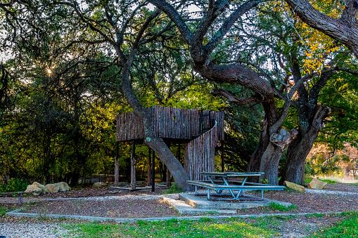 Jungle Gym En Picknicktafel In Woodland Park Gebied Stockfoto en meer beelden van Beschermd natuurgebied
